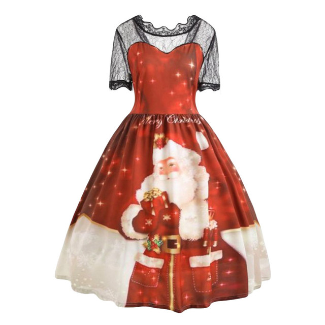 Robe Vintage Pin up Christmas Dress 2019 Short Sleeve Lace Patchwork Winter Snowflake Santa Printed Party Rockabilly Dresses