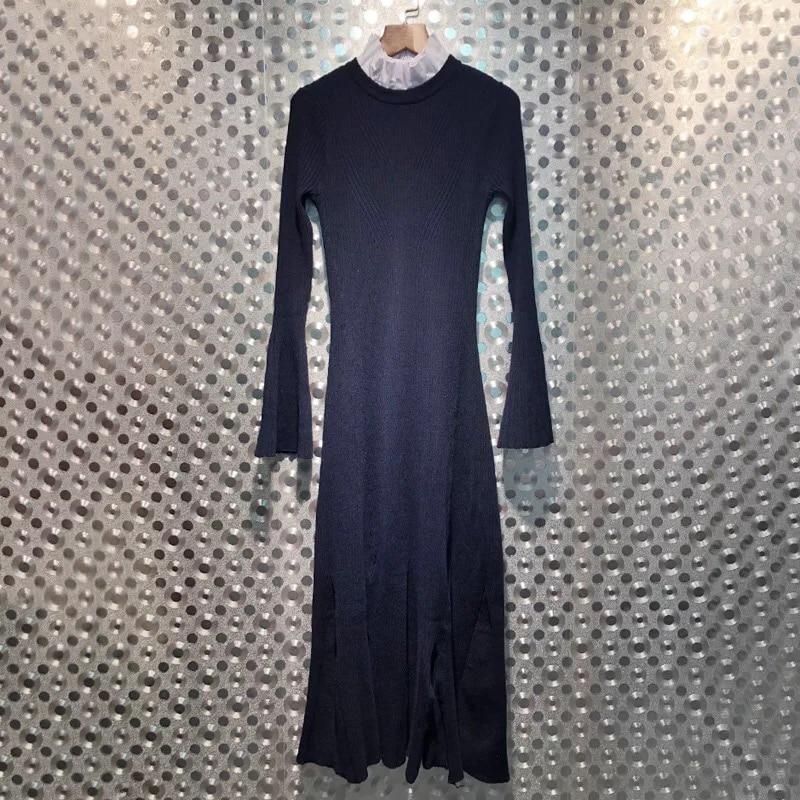 Robe Maxi D'hiver Montant 2018 Flare Long Lisière Longues Manches Filandreuse Nouvelle Tricoté Et Automne Col Mince Femmes 1qx7Ra