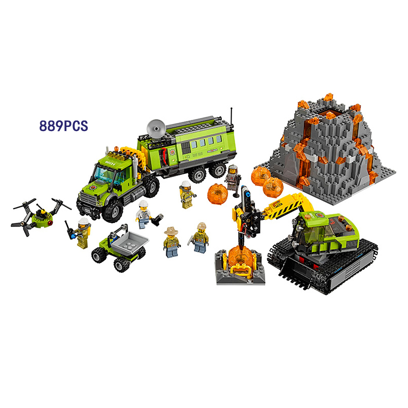 2018 New City Volcanic exploration base building block mini explorer Scientist figures lepine brick 60124 toys for children gift lepin 02005 volcano exploration base building bricks toys for children game model car gift compatible with decool 60124