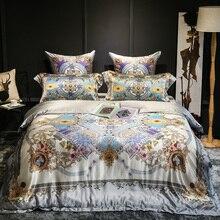 European Royal Luxury 100% Silk Satin Jacquard Bedding Set Duvet Cover Bed Linen Bed sheet Pillowcases Textiles Bedclothes bed linen set leticia collection estetica fabric of satin jacquard production of ecotex russian companies