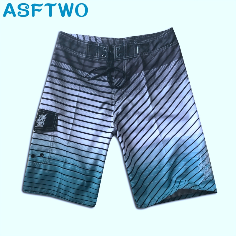ASFTWO Quick Dry   Board     Shorts   Striped Surfing   Shorts   Gray Casual Beach   Shorts   For Men