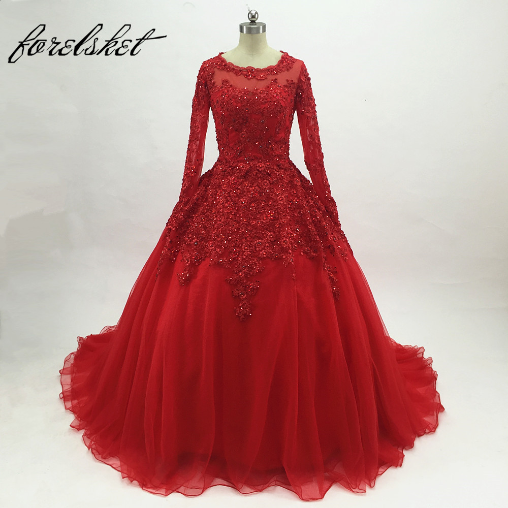 Red Lace Tulle Ball Gown Prom Dresses 2017 Long Sleeves Off The