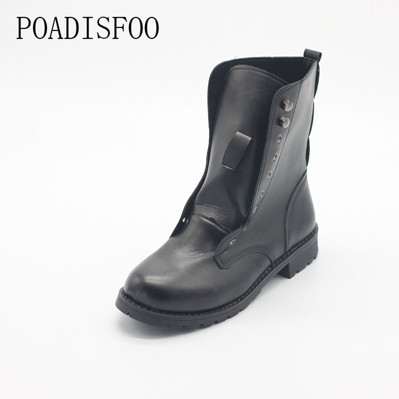 POADISFOO Woman Shoes For Women Autumn Boots Martin Boots Female The Rough With Short Black Lace