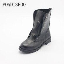 POADISFOO Femme Chaussures Pour Femmes Automne Bottes Martin Bottes Femme Le Rugueux Avec Court Noir Dentelle Bottes Chaussures pour dames. DFGD-804