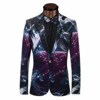 Galaxy Printed Blazer Men Business Casual Suit Jacket Formal Groom Tuxedos Wedding Dress Beautiful Design Men