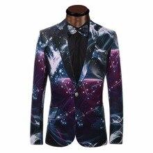 Galaxy impresso blazer ocasional dos homens de negócios paletó formal vestido belo design do casamento do noivo smoking homens ternos blazers(China (Mainland))