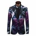 Galaxy impreso chaqueta de los hombres traje casual de negocios chaqueta formal diseño hermoso vestido de boda del novio esmoquin hombres trajes blazers