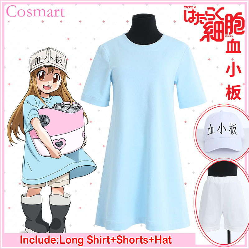 [STOCK]Shirt+Shorts+Hat Amine Cells At Work Blood Platelet Cosplay Costume Hataraku Saibou For Halloween Carnival full set free