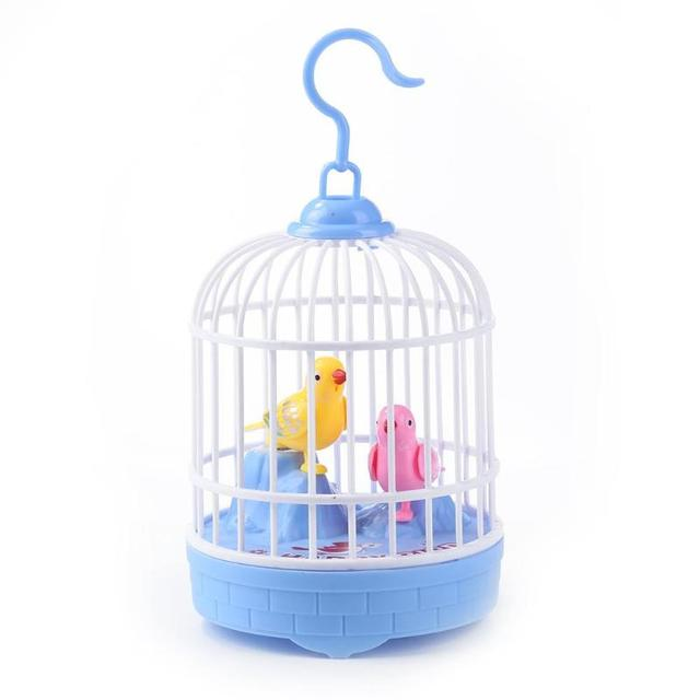 Voice Control Electric Simulation Induction Sing Move Bird Cage Birdcage Toy Home Decoration Garden Ornaments Chrismas GiftElectronic Toys