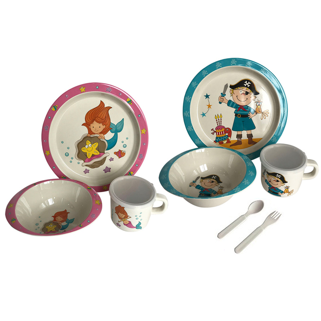 Baby Feeding Set Bamboo Fiber Children Tableware Baby Dishes BPA Free Kids Dinnerware Plate Bowl Cup Fork Spoon Toddlers Dishes