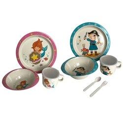 Sisi & tommebamboo Fiber BPA бесплатная тарелка чашка, вилка, ложка, набор посуды для кормления детей ясельного возраста
