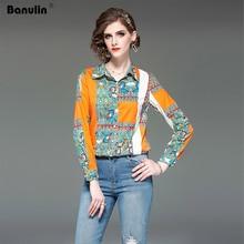 Unique Pattern Design Runway Women Colorfull Print Slim Shirt Turn Down Collar Chiffon Blouse Quality Summer Bohemian Tops