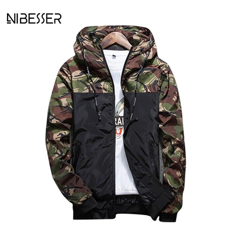 NIBESSER Brand Military Style Jacket Men Camouflage Patchwork Long Sleeve Jacket Streetwear Classic Fashion Jackets Plus Size5XL