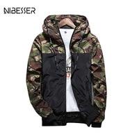 NIBESSER Brand Military Style Jacket Men Camouflage Patchwork Long Sleeve Jacket Streetwear Classic Fashion Jackets Plus