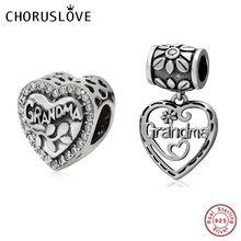Choruslove Love Grandma Charm Beads 925 Sterling Silver Heart Bead fit Pandora Charms Family Series Charms DIY Bracelet Jewelry 925 sterling silver bead shine family heritage dangle charm beads fit pandora charms silver 925 original bracelet diy jewelry