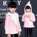 2017 новый дизайн розовые Девушки пальто зимнее снаряжение издание утолщение у детей теплый ворсины замши свитер хлопка-ватник