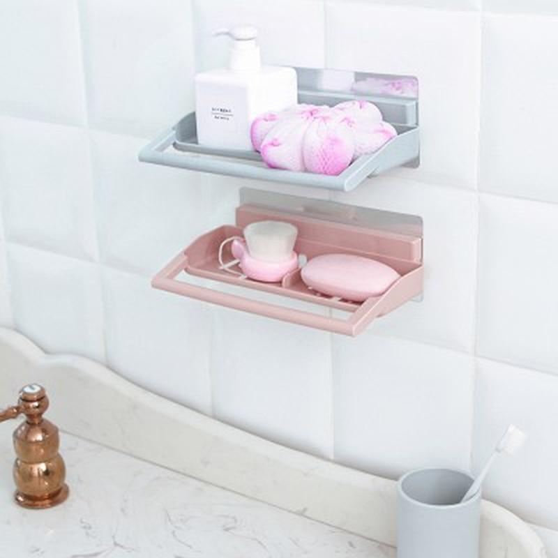 Plastic Traceless Shower Shelf Straight Soap Basket Sponge Towel ...