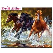 "Full Round Diamond 5D DIY Diamond Painting ""Horses"" Embroidery Cross Stitch Rhinestone Mosaic Painting Decor"
