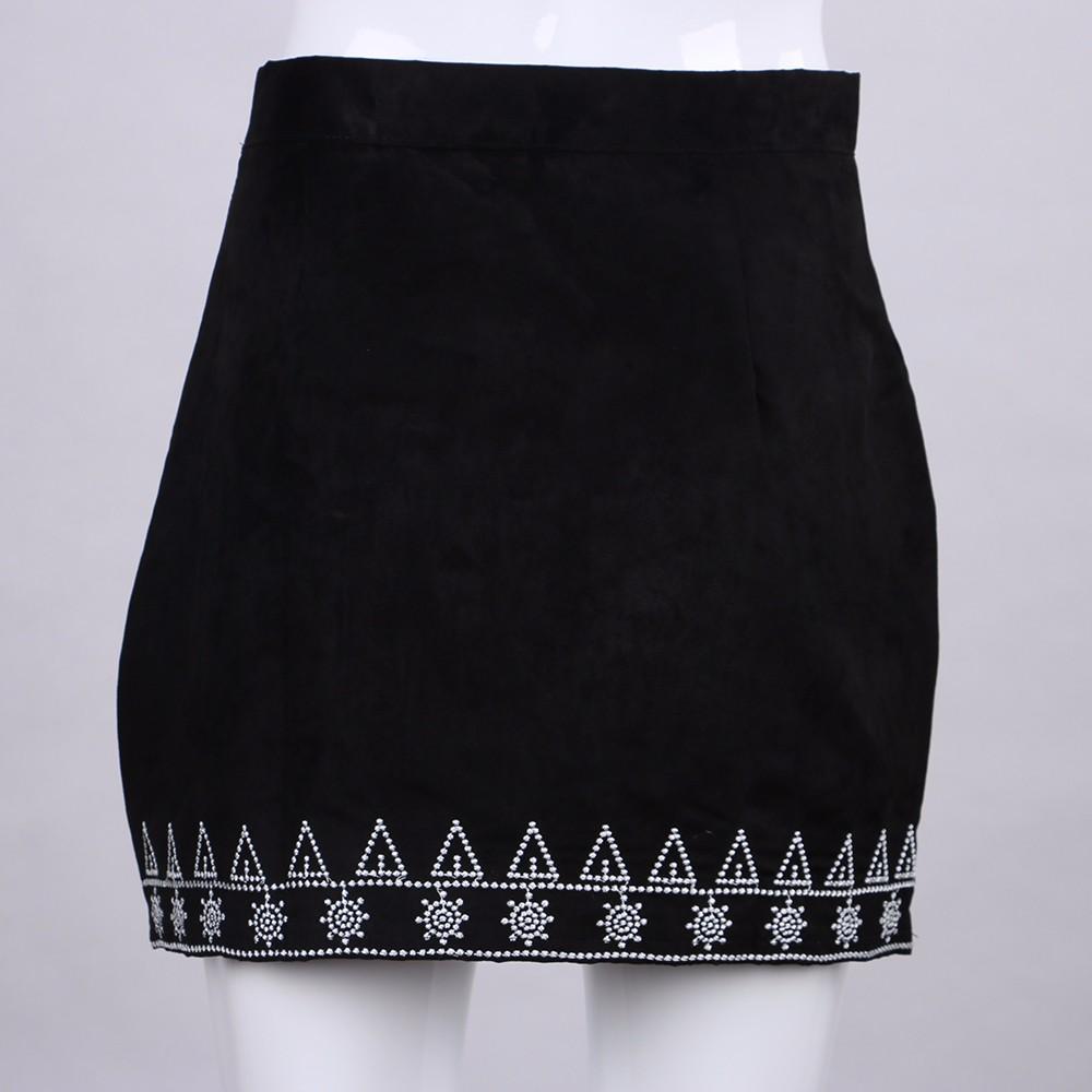 HTB1ZhSTNFXXXXbxapXXq6xXFXXXJ - FREE SHIPPING  Embroidery Suede A-line Skirt Black Brown Mini Skirts JKP350