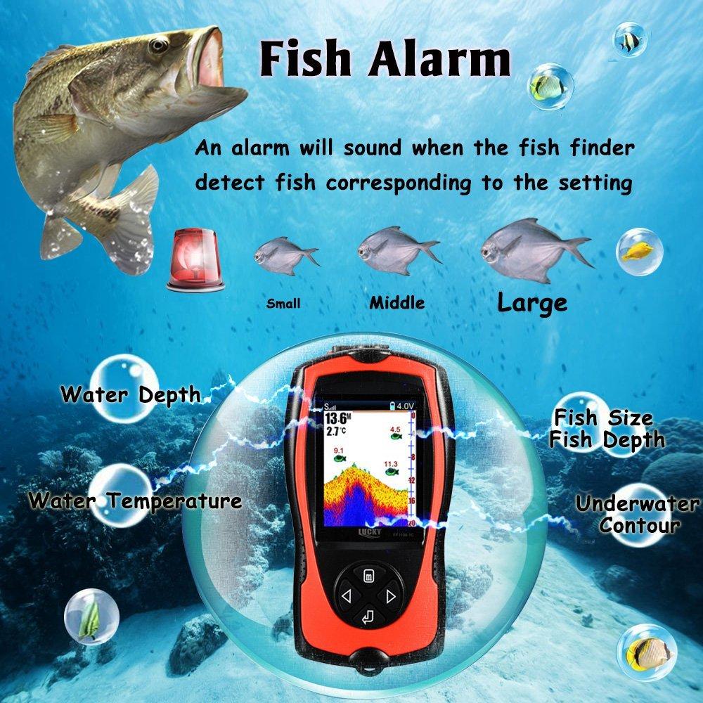 Tiefer Wireless Sonar Fisch Finder FF1108-1CWLA Fisch Finder Mit Wasserdichte Farbe Display Pesca Beißen Alarme Für Sea Shore Angeln