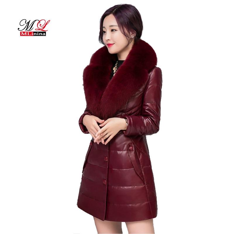 MLinina Women Winter Removable Fox Fur Collar Leather Jacket Coat Female Slim Long Sleeve Jackets Outerwear Plus Size 6XL Coats