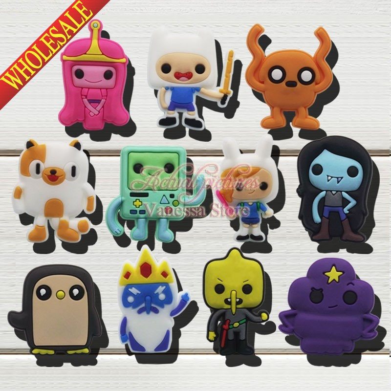 Wholesale New 100pcs Adventure time shoes decoration shoe accessories shoe charms fit wristbands kids christmas toys & gift ariva ar 488