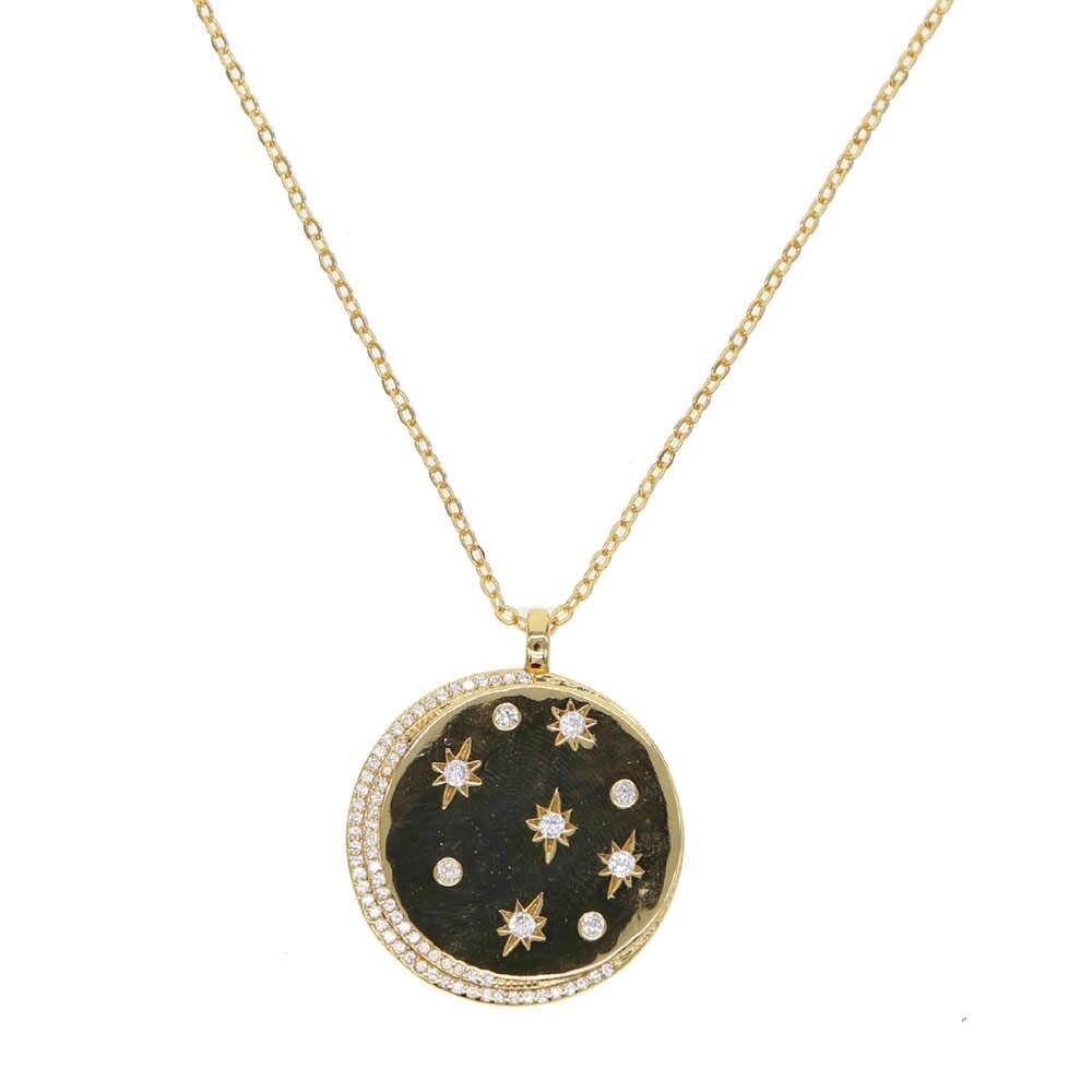 2019 позолоченная звезда signet AAA + инкрустированный цирконами Луна Звезда Ожерелье с кулонами в виде монет для женщин геометрические простые классические модные ювелирные изделия