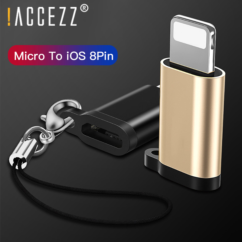 !ACCEZZ 4PC OTG Adapter Micro USB Female To Lighting For Iphone X XS MAX XR 7 8 6S Plus Phone Data Sync 8 Pin Charger Converter