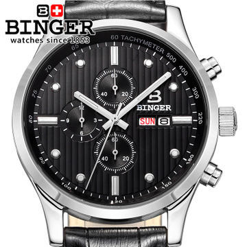 Fashion New Hot Sell Binger Brand Black Leather Sport Men Women Watch Gift Army Sport Style