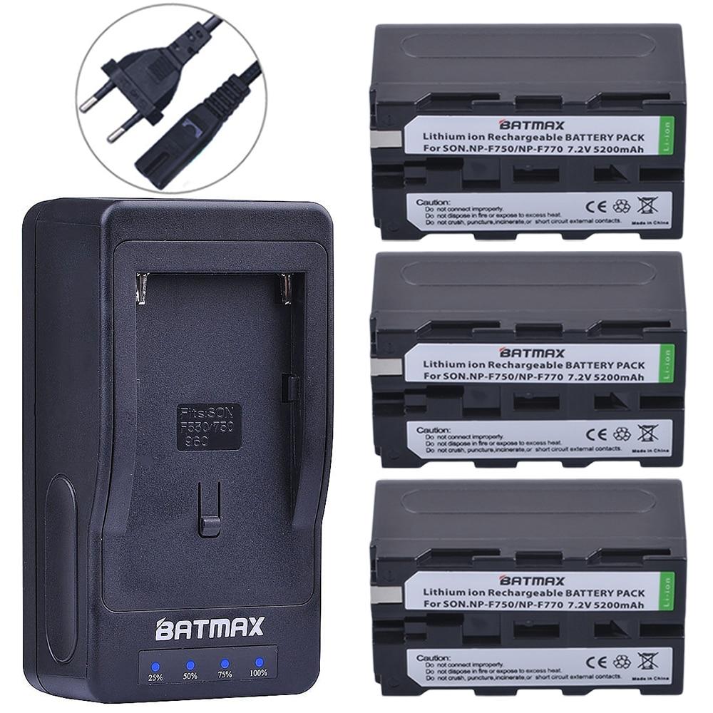 Batmax 3Packs NP-F750 F770 Batteries + LED Ultra Fast Charger for for Sony NP F970, F750, F770, F960, F550, F530, F330, F570, grepro led ultra fast camera battery charger for sony np qm91d qm71d tr516 tr716 np f960 f970 f750 f770 f550 f570 np fm50 fm55h
