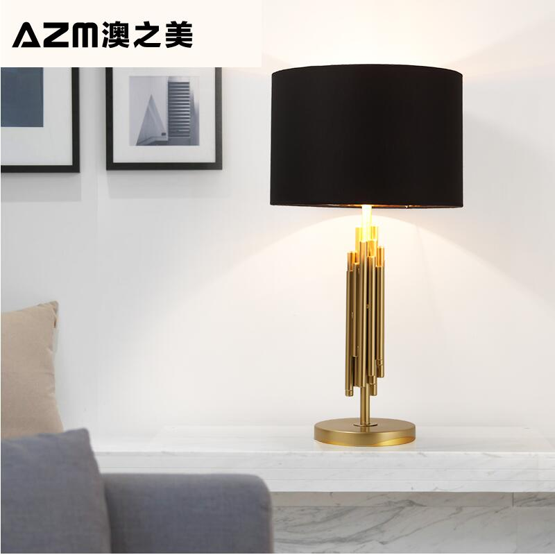 Post - modern brushed titanium personalized designer showroom atmospheric lamp new classical bedroom bedroom bedside lamp