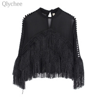 Qlychee Sexy See Through Women Blouse Stand Collar Tassel Patchwork Female Short Blouse Long Sleeve Loose