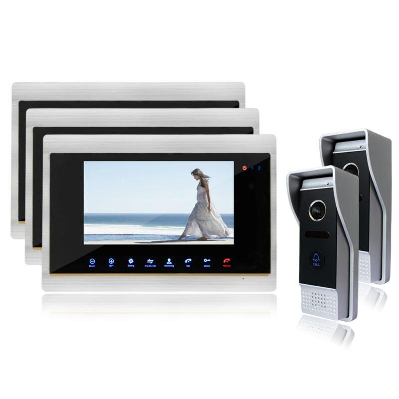 Homefong 7 Video Intercom font b Door b font Phone System With 3 Monitors HD Doorbell