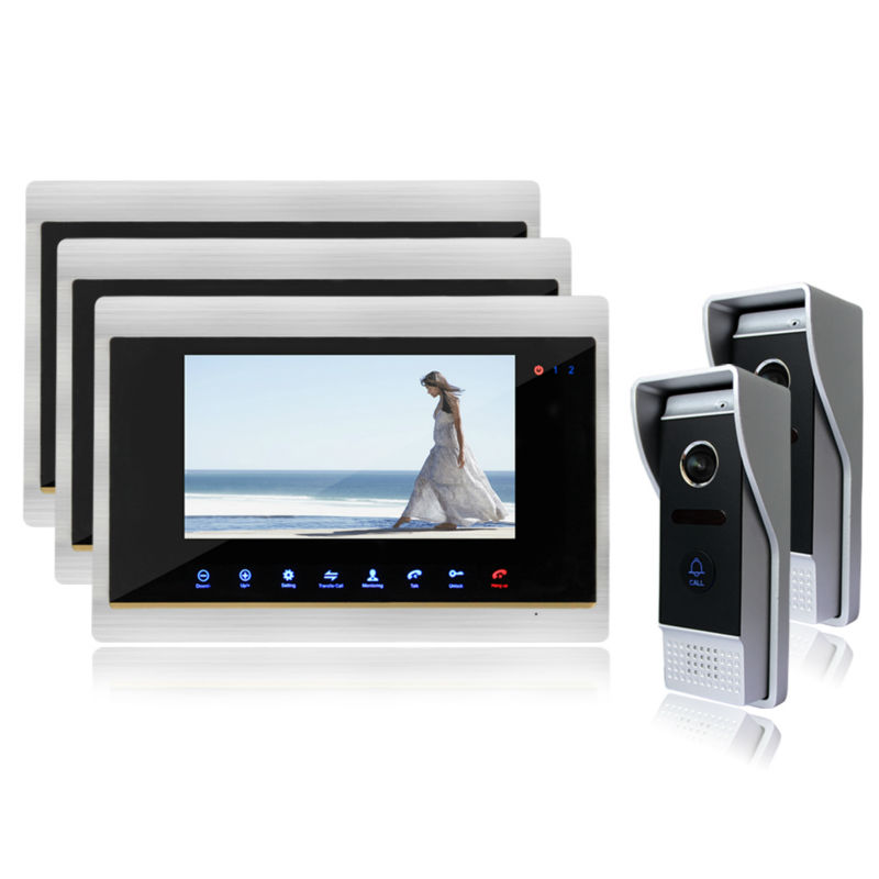 Homefong 7 Video Intercom Door Phone System With 3 Monitors HD Doorbell Camera Wholesale View Angle Door Viewer