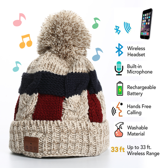 Wireless Bluetooth Headphone Beanie, Bobble Hat  Headphone,Winter Hat with Pom Pom, Gifts for Christmas Day, Gifts for Birthday
