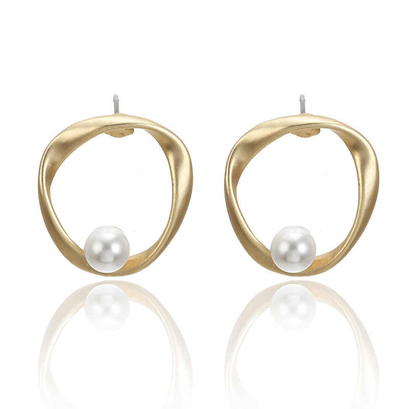 G.YCX Korean Geometric Round Baroque Pearl Earrings Statements for Women Matte Gold Large Circle Hollow Earrings Bridal Jewelry