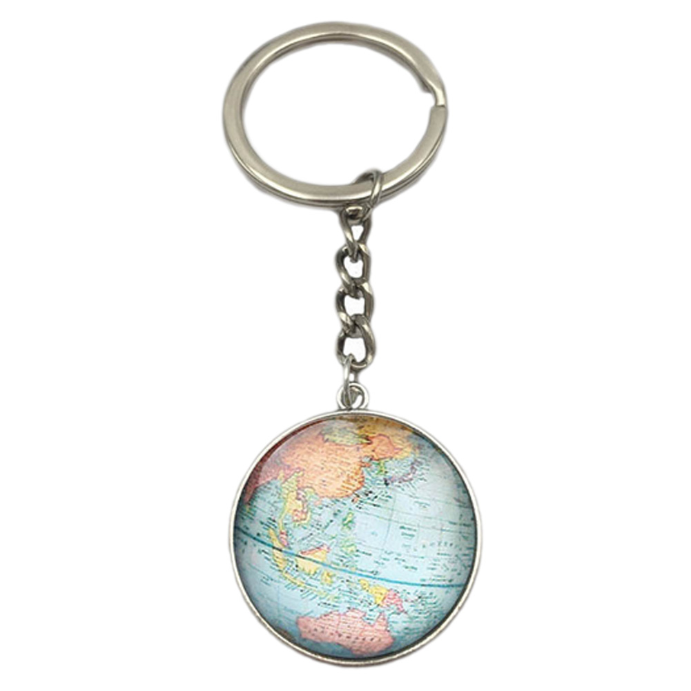 Earth Globe Art Pendant Keychains Gift World Travel Adventurer Key Ring World Map Globe Keychain Jewelry