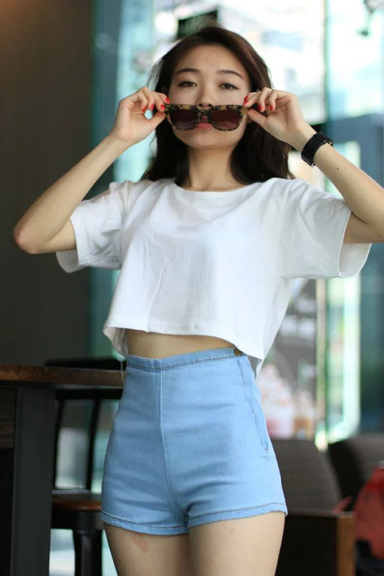 Online Shop 2015 high waist denim shorts was thin side zipper bag ...