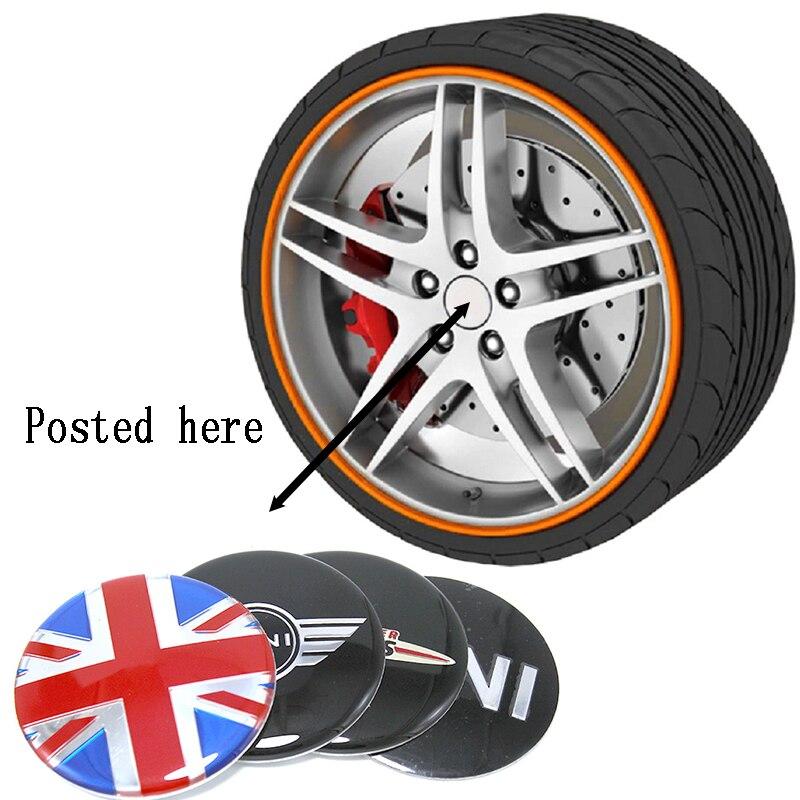 רכב סטיילינג 4Pc גלגל צמיג מרכז רכזת מדבקות 56/52/50mm סמלי עבור BMW Mini קופר R56 R50 R53 F56 F55 R60 R57 Countryman
