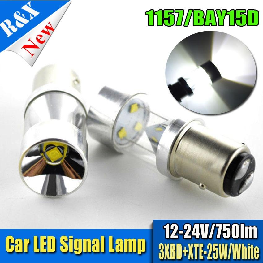 2pcs White 1157 12V 24V XBD XTE 25W 750LM BAY15D led High Power lamp 21/5w led car bulbs brake Lights Source parking Canbus