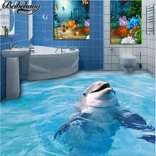 beibehang Custom large 3D floor decoration painting 3D dolphin bathroom floor tiles decorative painting three-dimensional floor