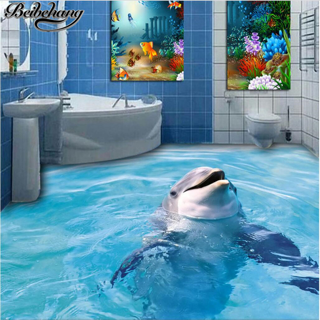 Beibehang Custom Large 3D Floor Decoration Painting 3D Dolphin Bathroom  Floor Tiles Decorative Painting Three