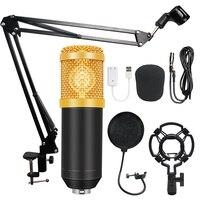BM-800 конденсаторный аудио 3,5 мм проводной Студийный микрофон вокальная запись KTV караоке микрофон набор микрофон с подставкой для компьютер...