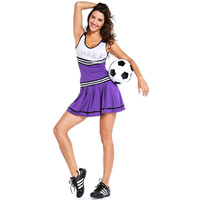 Cheerleader Vrouwen fancy zomer sexy mini outfit uniform mouwloze print brief paars a-lijn hoge school kostuums