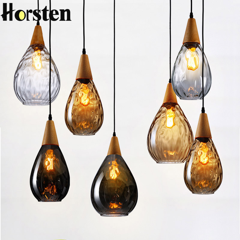 Horsten Nordic Europe Ripple Glass Pendant Light Creative Wooden Hanging Lamp for Restaurant Living Room Cafe Bar Fixtures цены