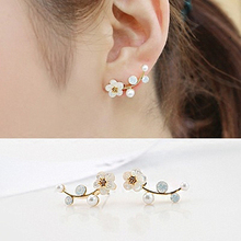 E0321 Vintage Flower Pearl Stud Earrings For Women Girls Fashion Gold Silver Color Stud Earrings Party Wedding Jewelry Lady Gift