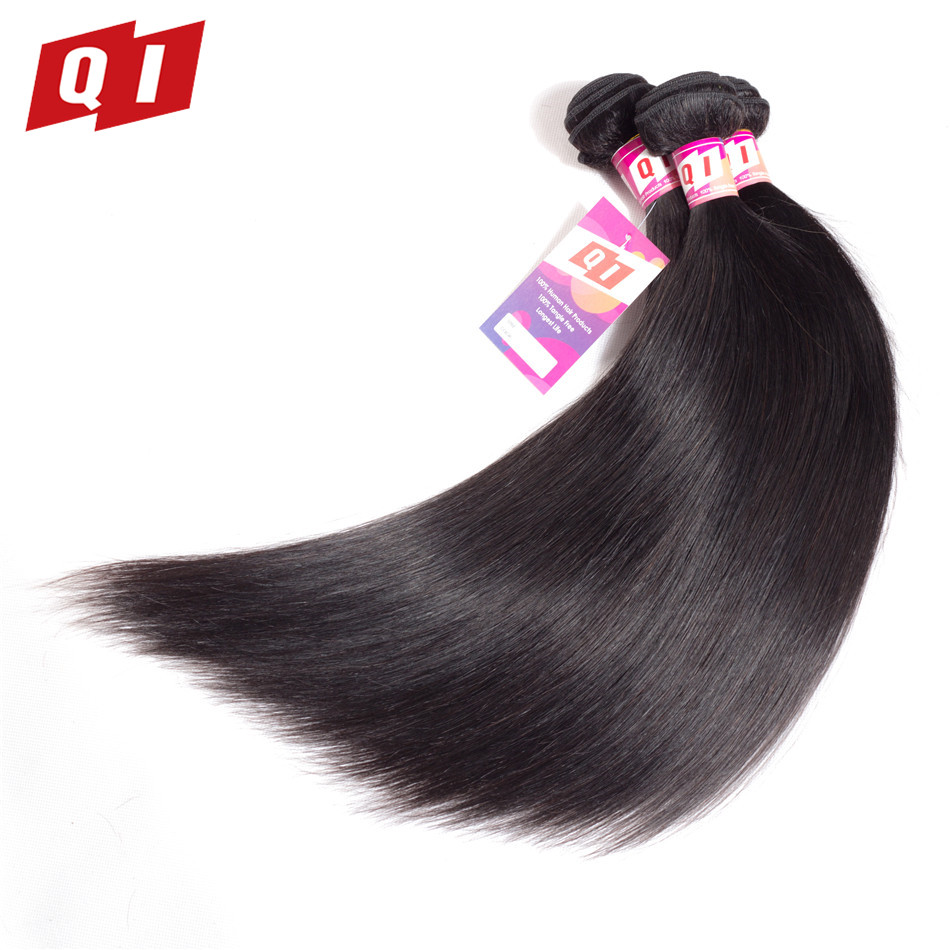 QI Hair Pre-Colored Indian Straight 3 Bundles 100% Human Hair 100g Hair Extensions Non Remy Natural Color Hair Bundles