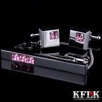 KFLK Luxury HOT Cuff link necktie clip High Quality tie pin for men Pink Crystal tie bars cufflinks tie clip set Jewelry