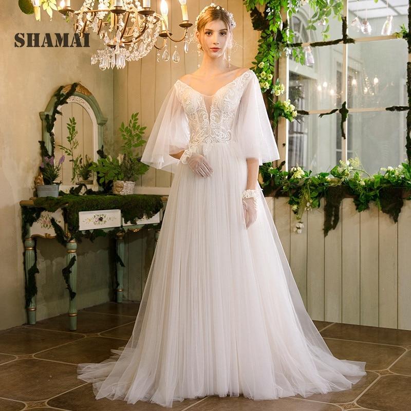 SHAMAI Vintage Beach Wedding Dress 2019 Flare Sleeves