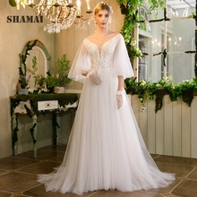 Noble Weiss Beach Wedding Dress Flare Sleeves Bride Dress